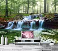 green trees forest waterfall stones nature print modern 8d luxury 3d wallpaper
