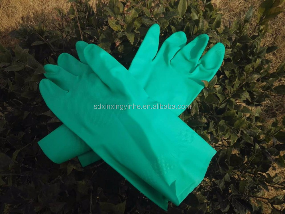 waterproof women long green nitrile house hold work gloves handjob