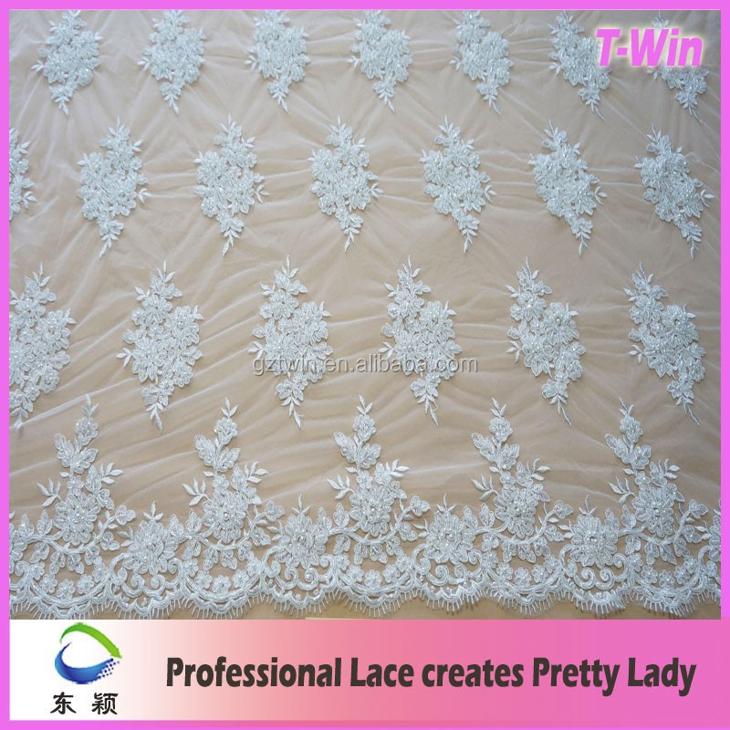 Handmake bead stone embroidery design lace fabric for wedding dress