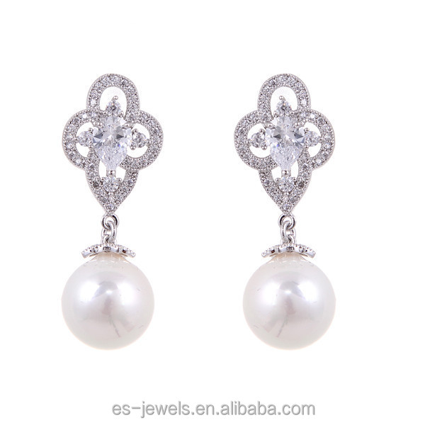 EG135 Drop Dangle Earrings Simulated Shell Pearl Drop and Crystal Earrings for Any Occasion