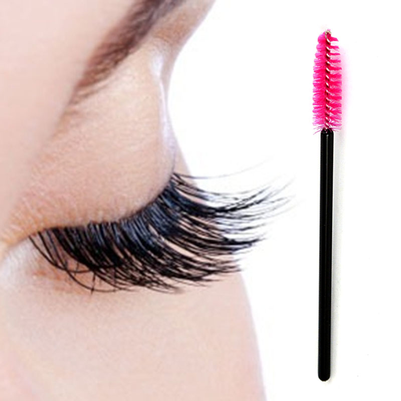 Fashion Synthetic Fiber Makeup Mascara Pink Disposable Eyelash Brush