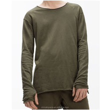 Baggy Style Men T Shirts Long Sleeves Side Slipt T-Shirt Lazy Fitting Open front Tee Shirts with Thumb Holes Cuffs Irregular Hem