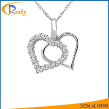 Promotive gift gold plated heart cz stone large pendants for jewelry making