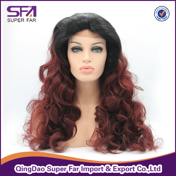Grey white synthetic hair lace front wig wholesale