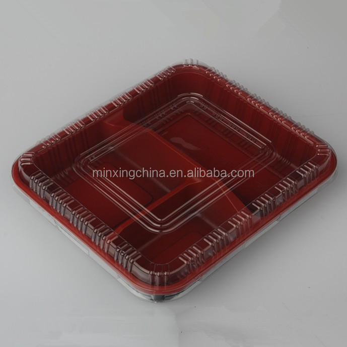 Black Disposable Ps Pet Compartment Plastic Party Tray With Pet Lid