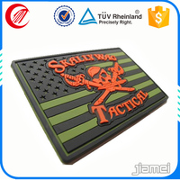 Eco-friendly uniform label embossed vucanizing pvc rubber patch military