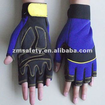 Half finger anti vibration mechanic glove for power tool ZMR336