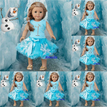 "18"" American Girl Doll Elsa Princess Number 1 2 3 4 5 6 Birthday Tee Blue Snowflake Pettiskirt Outfit"