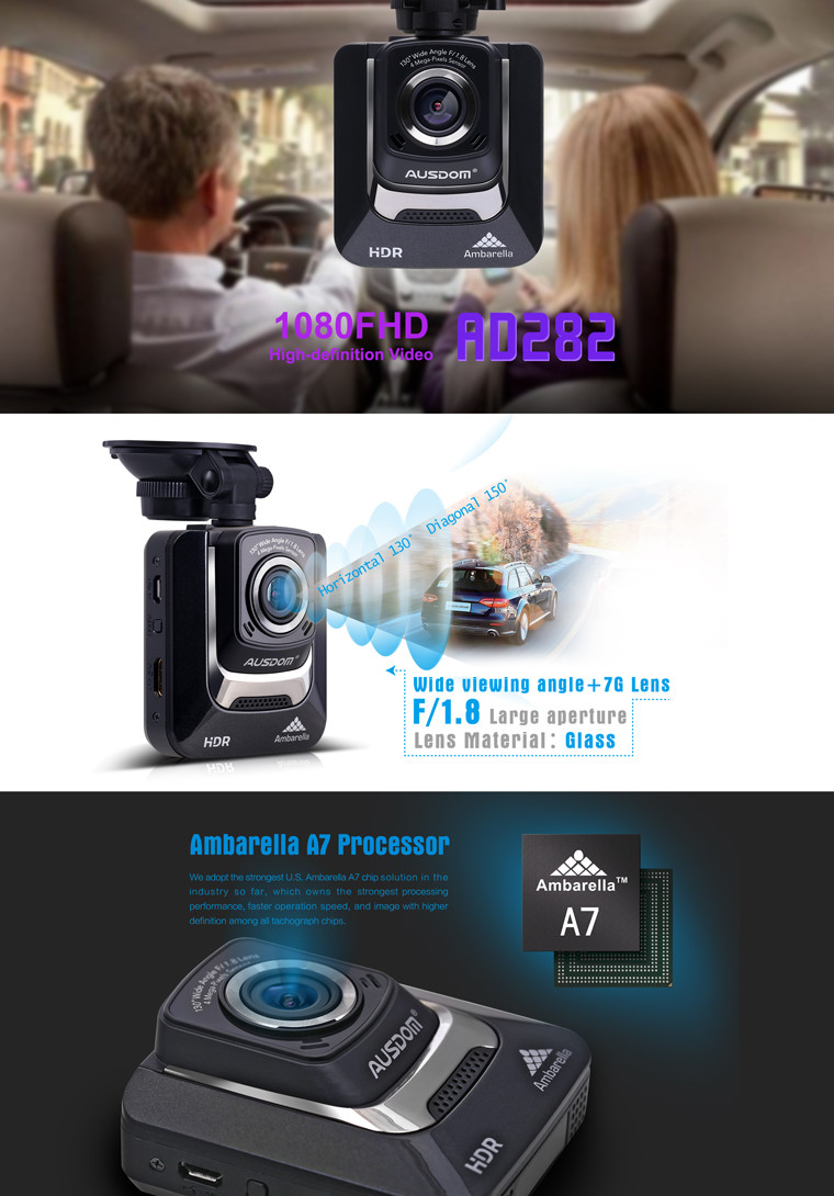 "2.4"" TFT LCD Car Dvr Dash Camera Ambarella A7 Gps Car Tracker With G-sensor logger"