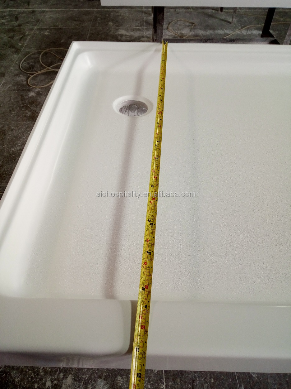 "60""x36""x3"" Corner Drain Rectangle Cultured Marble Shower Pan for US Hotel, Artificial Marble Shower Base, Hotel Shower Base"