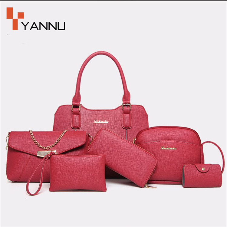 china wholesale market tote hand handbag fashion woman 6pcs one set bag
