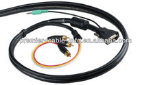 VGA and PC Audio with Triplex Audio/Video RCA combination cable