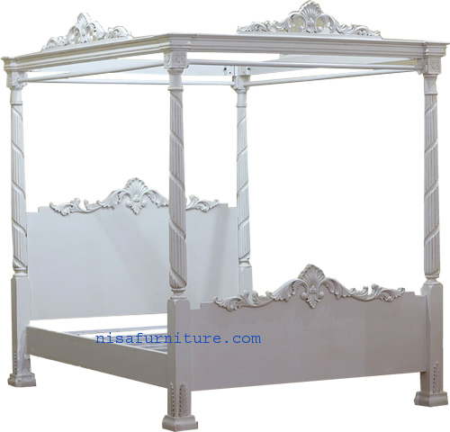 Solid Wooden French Style Antique White Four Poster Canopy Bed