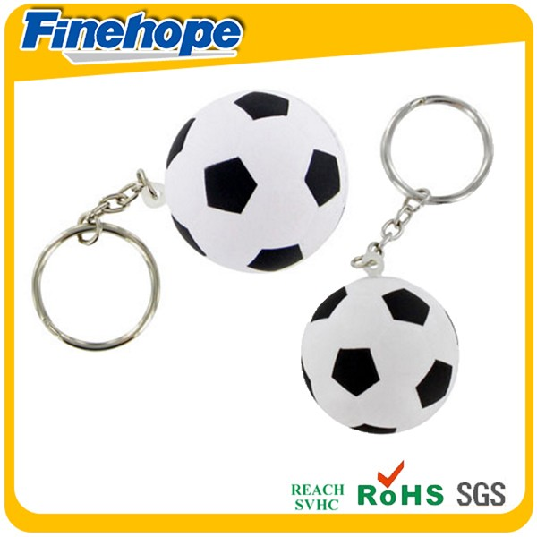 Customize Polyurethane foam OEM 3d rubber PU toy mini soccer stress ball key chain