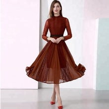 2018 lace pleated dress women dress fabric pleated