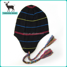 High quality children stripe pattern knitted earflap beanie with tassles