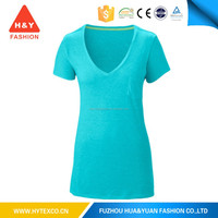 lady 100% polyester bulk v-neck t-shirt with pockets