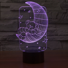 FS-2982 Sweet Bear and Moon Led 3D Illusion Gift Christmas 3D deco Light