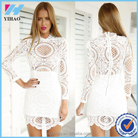 Women Sexy Elegant High Quality Crochet Dress Long Sleeve White Lace Dress Summer Elegant Ladies Casual Hollow Out