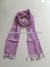 viscose scarf with fringe/ stripe pattern