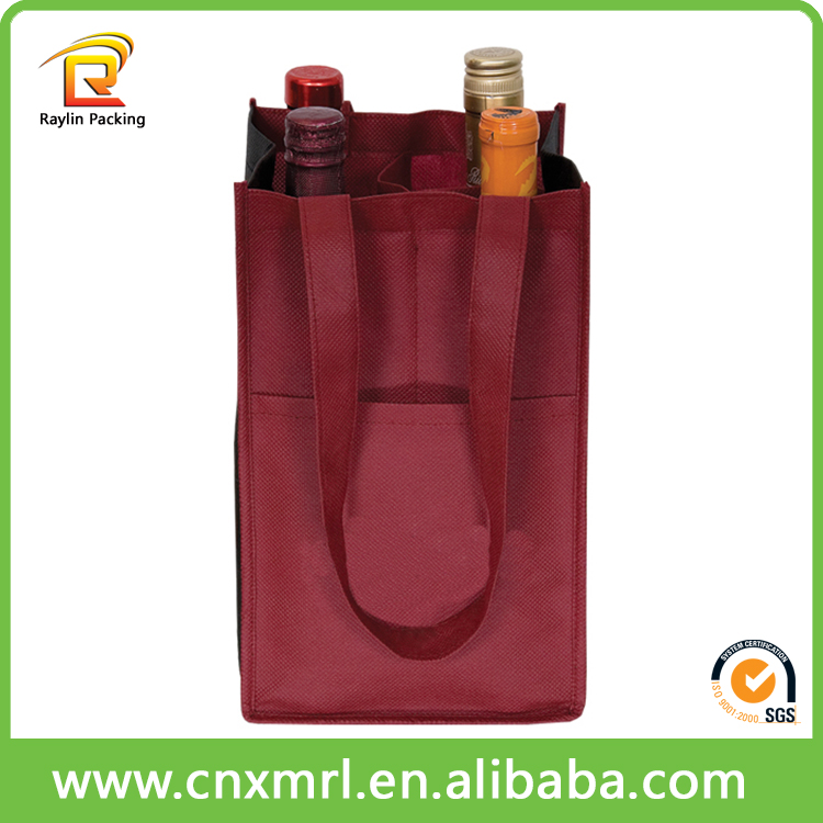 Recycled non woven 6 bottles wine carrier bag