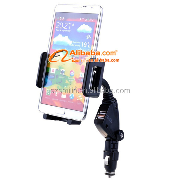 Dual usb Car Charging Cell Phone Tablet PC Mount Holder