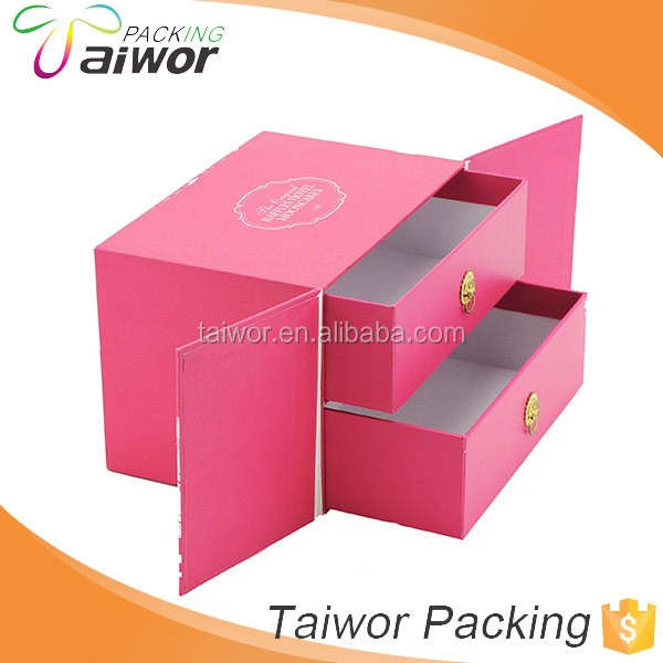 Pink 2 Drawers Design Storage Jewellery Drawer Gift Box with Handles