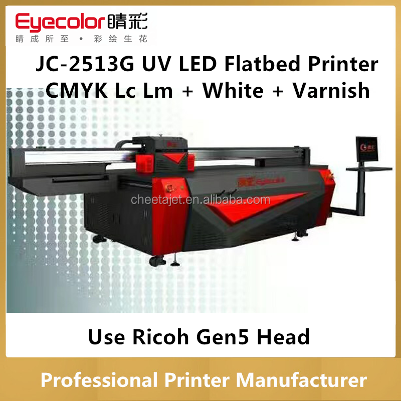dongguan factory JC-2513G uv led flatbed printer with 6pcs ricoh gen5 head 3D 5D varnish printing (CMYK LC LM +White+ Varnish)