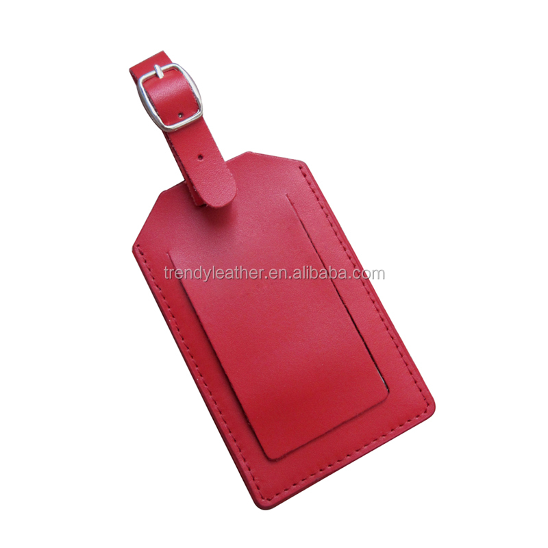 Custom genuine leather travel luggage tag, airline leather name tag
