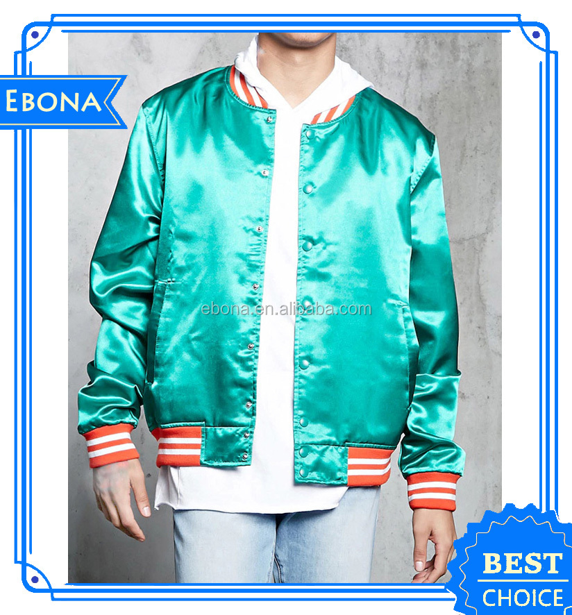Wholesale High Quality Custom Silk Printing Bomber Jacket Men Green Satin Bomber Jacket
