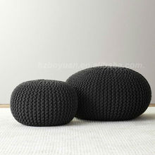 Fabric covered ottoman round knitted pouf beanbag pouf