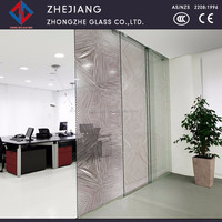 Anti yellowing ceramic frit digit glass for interior decorative office partition