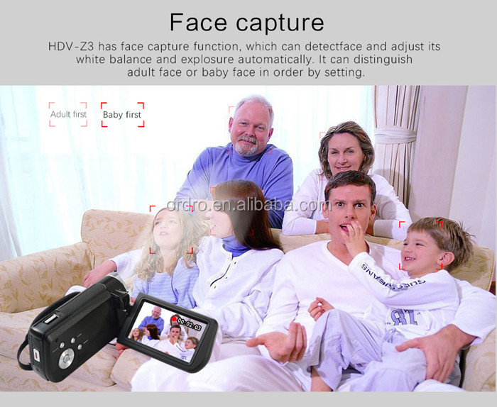 Ordro HDV-Z3 TFT-LCD portable camcorder camera cheap digital , 16X digital zoom full hd camcorder 1080p