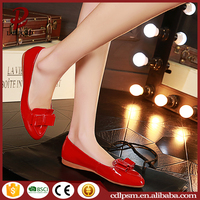 2016 Free sample China wholesale latest design fashion PU leather gum rubber sole red yellow grey women flat feet shoes