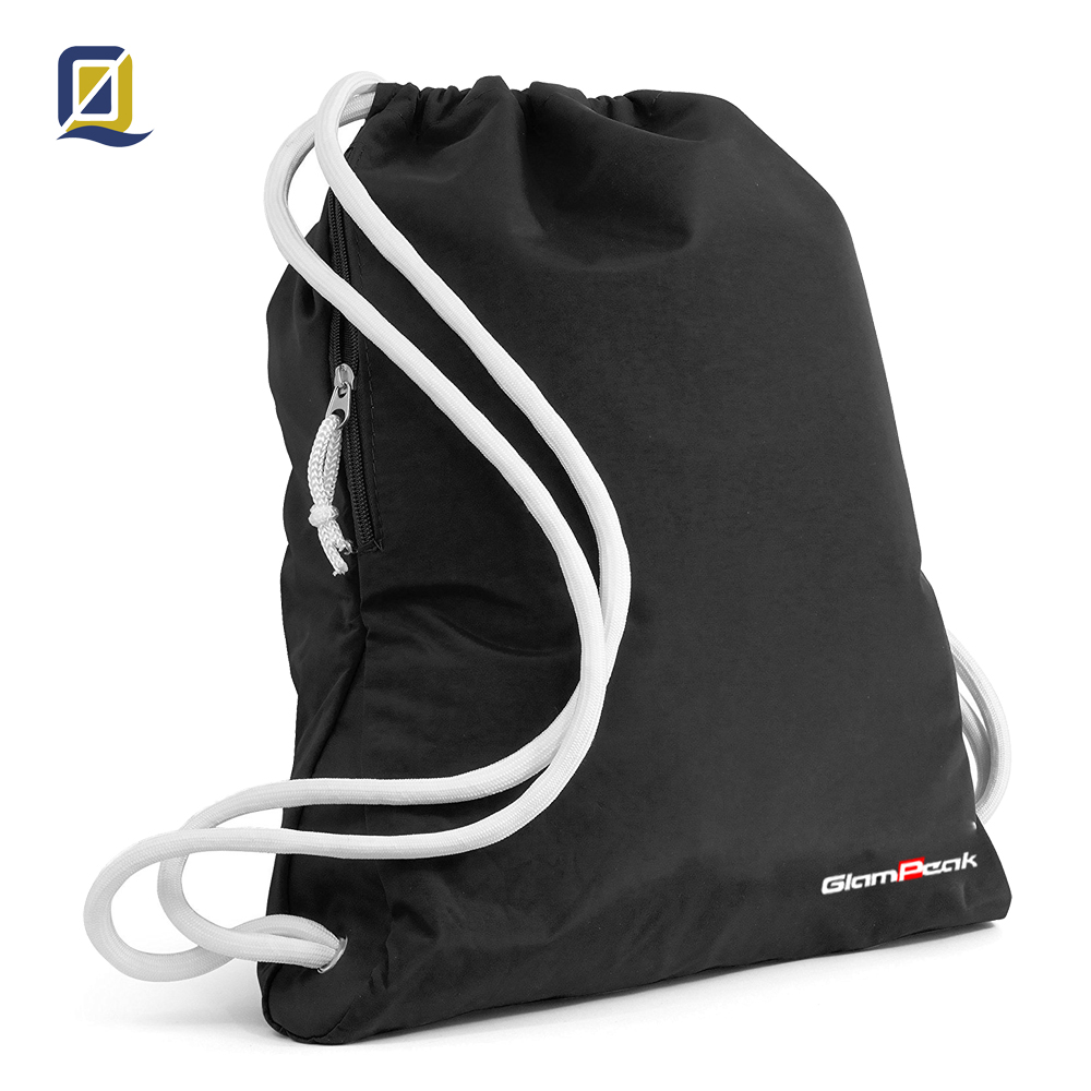 Deluxe Drawstring Gym Bag- Waterproof Swimming Rucksack With Large Zip Pocket Best For School, PE & Sports backpack
