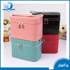 Ladies cute big size hard pu waterproof double-decker storage cosmetic powde makeup case