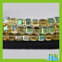 Heat Treatment Amber Green Crystal Faceted Cube Glass Beads #5601 All Size for Sale