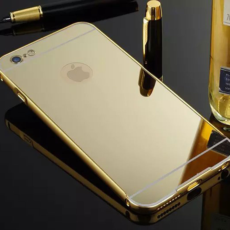for iPhone 6 6s mobile accessories electroplating PC mirror cover aluminum gold phone case