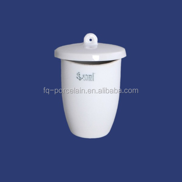 ISO9001 porcelain crucible with lid chemistry lab equipment hunan fuqiang lab equipment lab supplies
