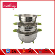 Good Grips Nested 3 Piece Colander Set - Stainless Steel Mesh Strainer Baskets with Handles & Foots