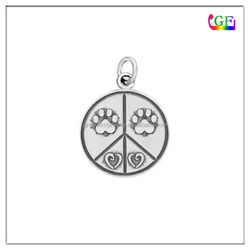 Relief Engraved DOG PAW PRINT CIRCLE Charm