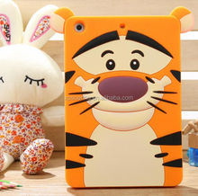 New Carton Tiger silicone case for ipad mini, Cat soft cover for ipad mini 2