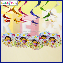 6pcs new design party dora anime swirl hanging decorations for children