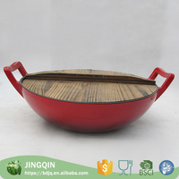 Hot chinese wholesale hand made cast iron big wok cookware with wood lid