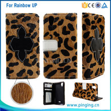 Fashion zebra stripe fur genuine leather case for Wiko rainbow up wallet case with card holder and photo frame pouch