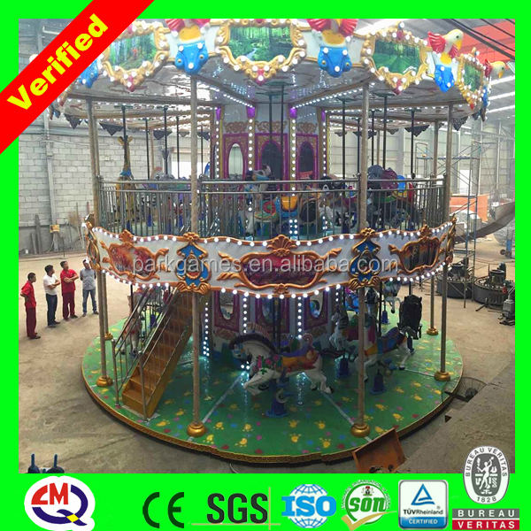 China high-class thrilling fun ride carousel horses plastic