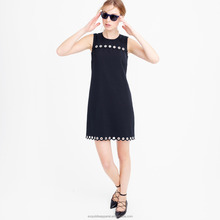 Scalloped Black Casual Fit Straight women's Fashion Formal Sleeveless Dress / womens Fashion trendy silk work dress
