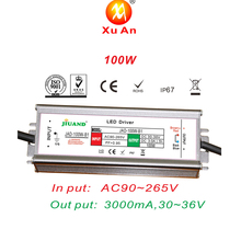 100W IP67 Waterproof Constant Current LED Driver 3000mA Outdoor Use 24V LED Driver