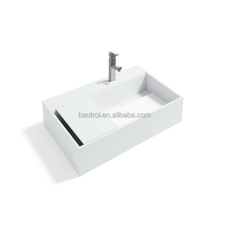 cast stone wall mounted single bowl Rectangular Shallow face wash basin