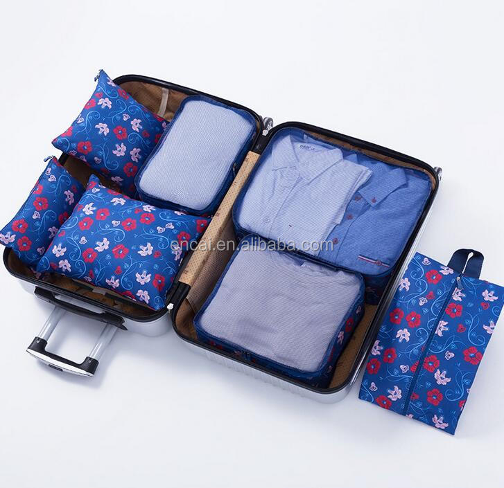 Encai Floral 7 in 1 Luggage Organizer Bag Set Travel Clothes Packing Cube Bags